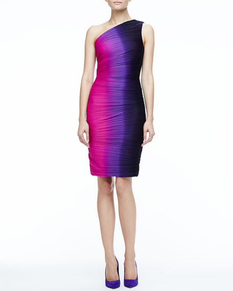 Ombre Ruched Fitted Dress