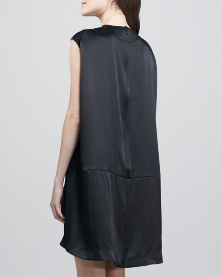 Devine Mesh-Front Satin Dress