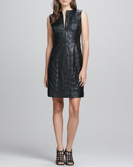 Milly Leather/Tweed Fitted Dress
