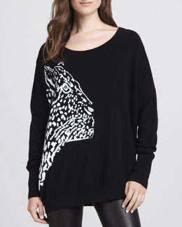 Milly Cheetah-Pattern Knit Sweater