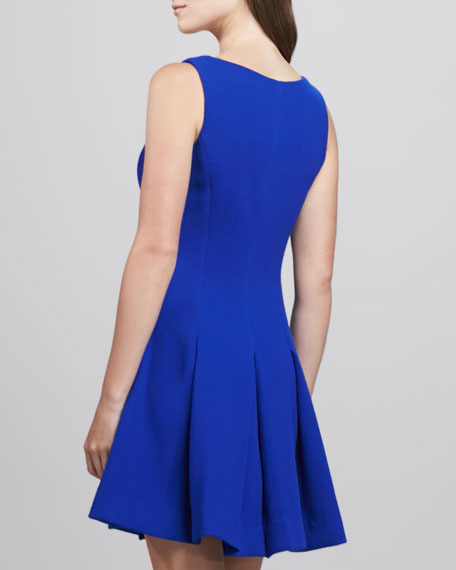 Pleat-Skirt Wool Dress, Cobalt