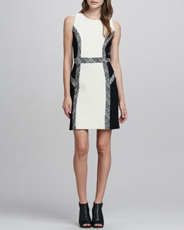 Milly Tweed-Trim Wool Dress