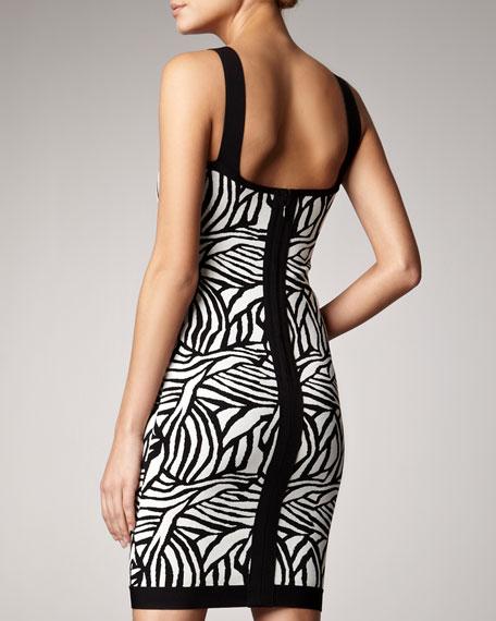Printed Scoop-Neck Bandage Dress