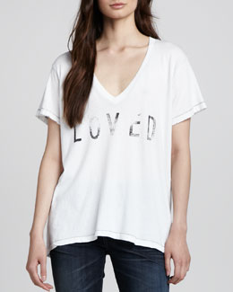 "Current/Elliott ""Loved"" V-Neck Tee"