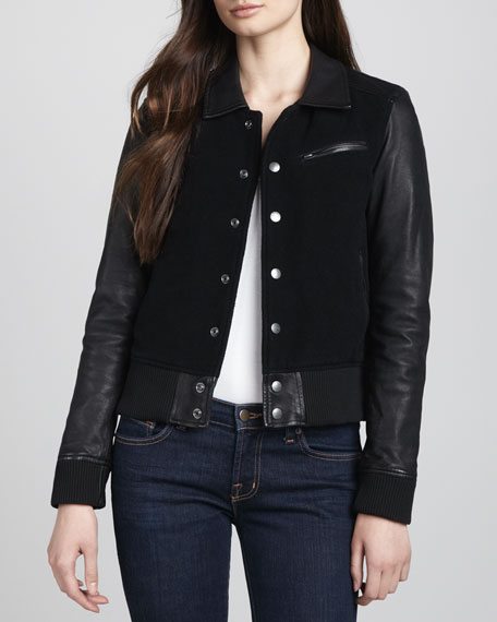 Varsity Leather-Sleeve Jacket