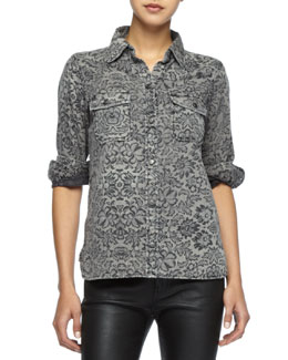Current/Elliott The Perfect Lace-Print Shirt