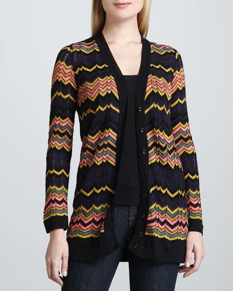 V-Neck Zigzag Knit Cardigan