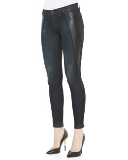 rag & bone/JEAN Mid-Rise Pop Paneled Leggings, Plymouth