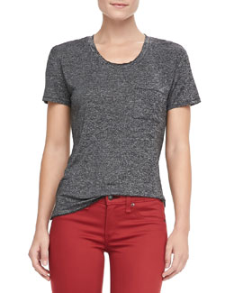 rag & bone/JEAN Heathered Pocket Tee, Charcoal Gray