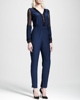 Jonathan Simkhai Long-Sleeve Mesh-Panel Jumpsuit