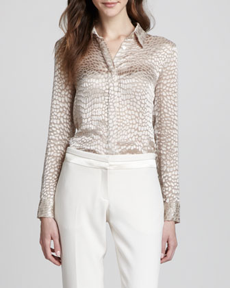 Alligator-Jacquard Silk Blouse