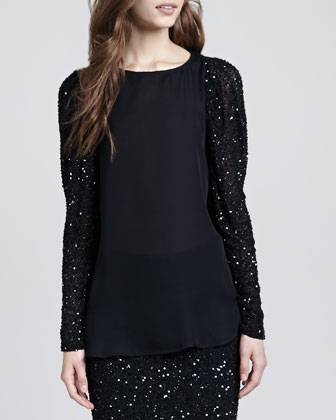 Sequin-Sleeve Blouse