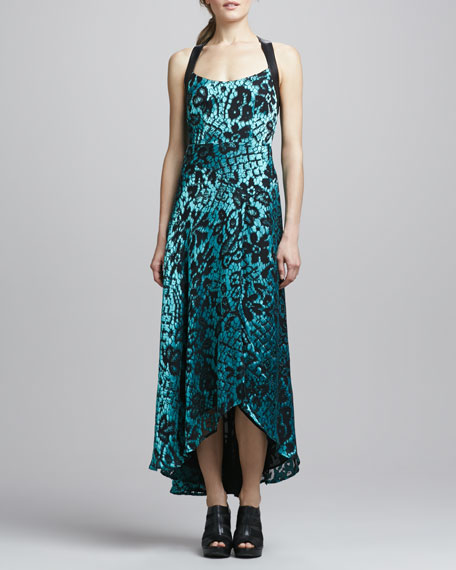 Sultry Floral-Flocked Dress