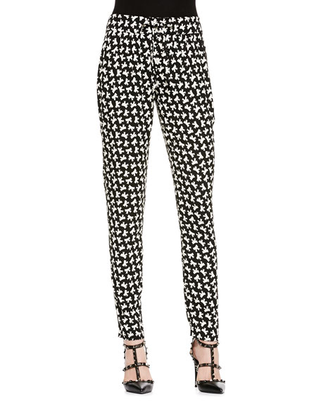 Bow-Print Slim Ankle Pants, Black/White