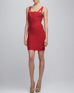 Herve Leger Split-Strap Bandage Dress