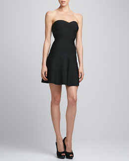 Herve Leger Flared Sweetheart Bandage Dress