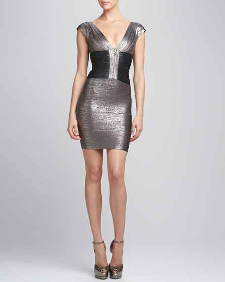 Two-Tone Metallic Bandage Dress