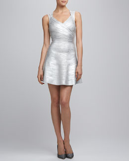 Herve Leger SILVER COMBO MID THIGH DRESS