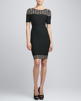Herve Leger Half-Sleeve Bandage Dress, Black