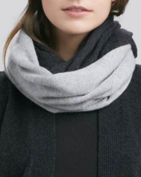 Colorblock Loop Scarf, Light Gray/Charcoal