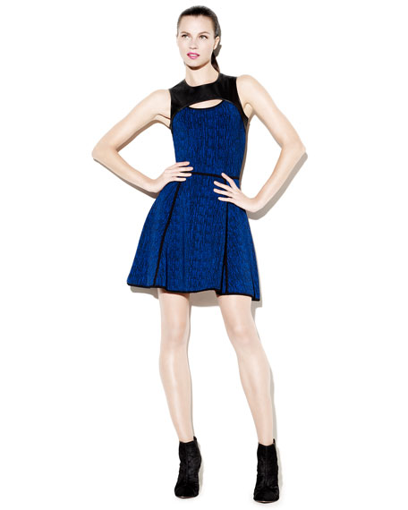 Leather-Top Jacquard Dress