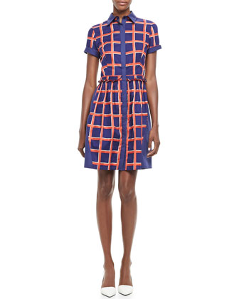 Joan Windowpane-Print Dress
