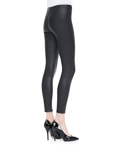 Cropped Leather Leggings, Black