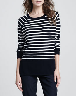 Vince Striped Relaxed Cashmere Sweater