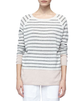 Vince Colorblock Cashmere Sweater with Raglan Sleeves