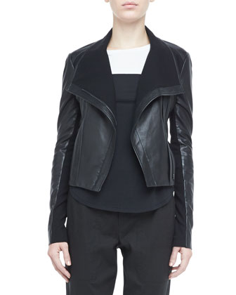 Asymmetric Leather Motorcycle Jacket