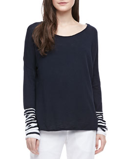 Vince Striped-Sleeve Slub Top