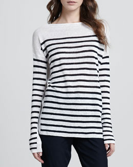 Vince Striped Intarsia Sweater, White/Coastal