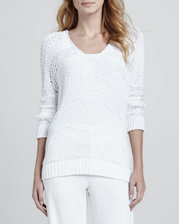 Vince Wide-Stitch V-Neck Sweater