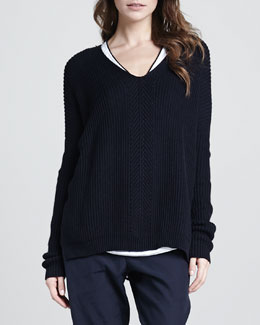 Vince Ribbed V-Neck Sweater
