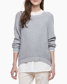 Vince Ribbed Knit Raglan Sweater