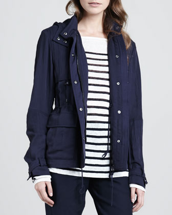 Luxe Hooded Short Anorak, Coastal
