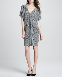 Vince Printed V-Neck Silk Dress