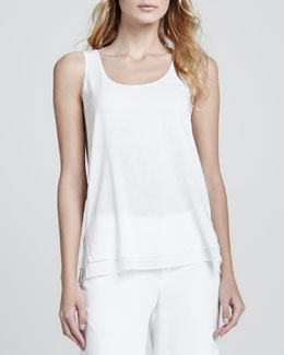 Vince Double Layer Silk Tank, Lace