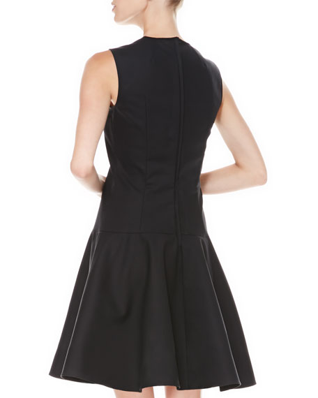 Drop-Waist Mesh-Neck Dress