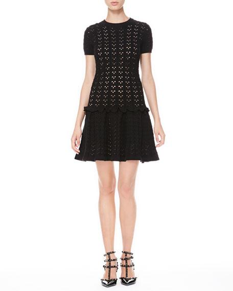 Laser Cut Drop-Waist Dress