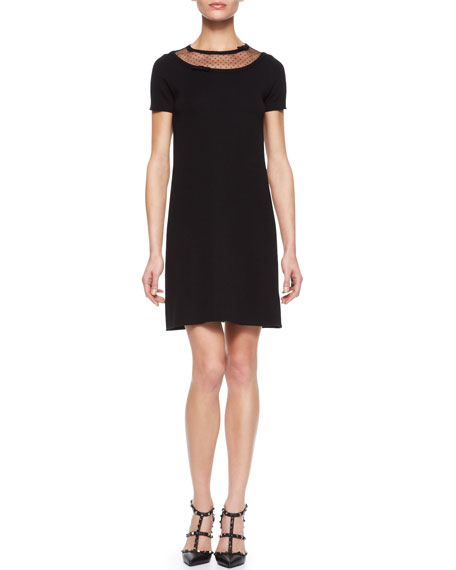 Dotted-Top Wool Shift Dress