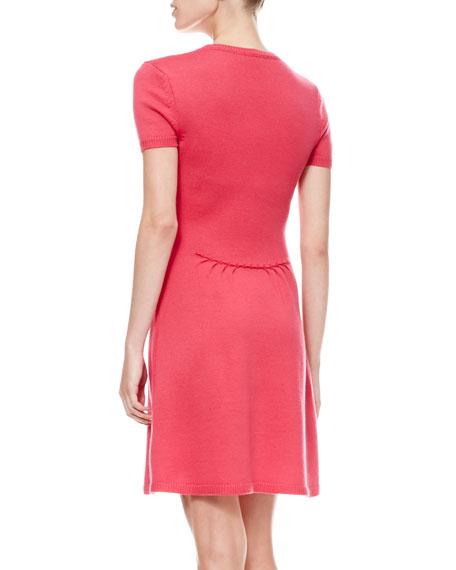 Short-Sleeve Bow-Waist Dress