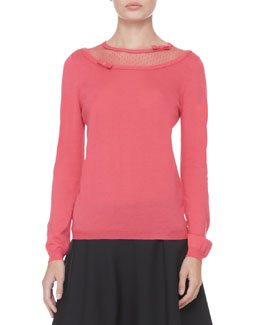 RED Valentino Dotted-Top Bow Pullover