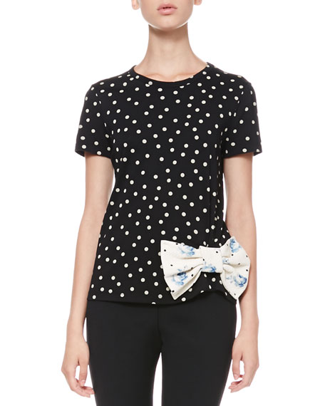 Dotted Bow-Waist Tee