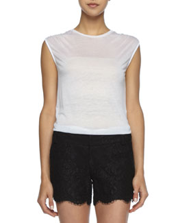 Alice + Olivia Sleeveless Slub Tee