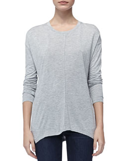 Vince Long-Sleeve Slub Tee, Heather Gray