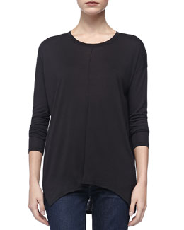 Vince Long-Sleeve Slub Tee, Black