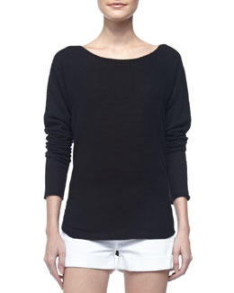 Vince Long-Sleeve Cashmere Top, Black