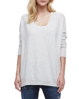 Vince Long-Sleeve Cashmere Sweater, Cloud
