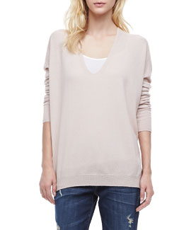 Vince Long-Sleeve Cashmere Sweater, New Buff